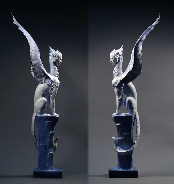 Forest Rogers winged animal hybrid sculpture