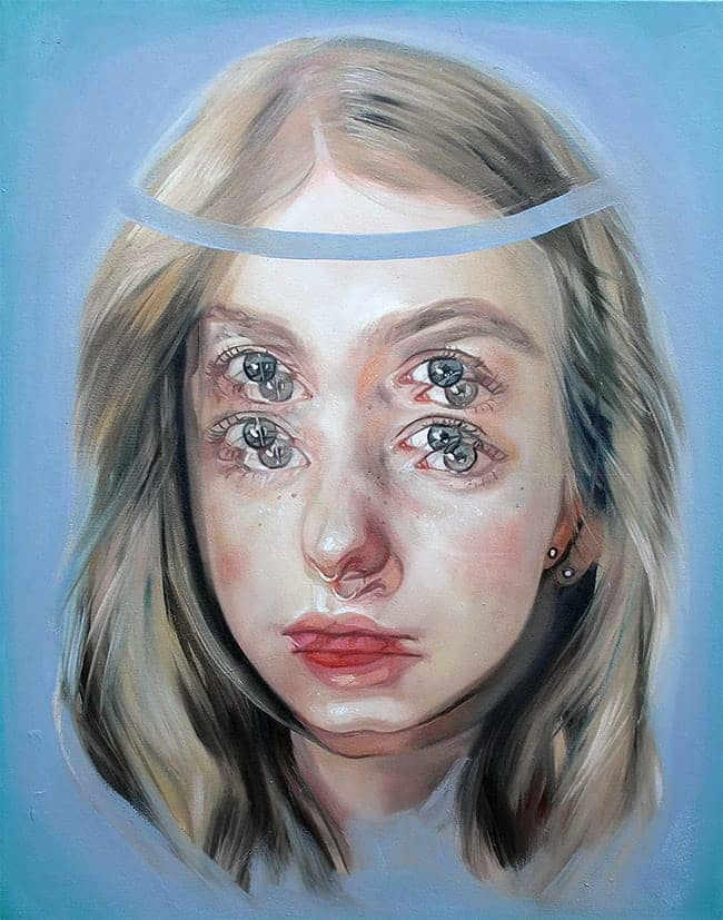 Alex Garant surreal double eye portrait