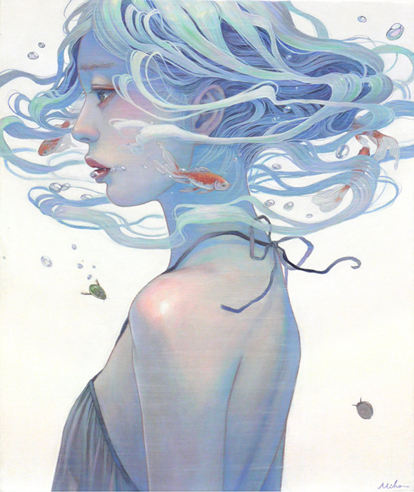 Miho Hirano painting of a girl in profile with her hair flying and full of fish.