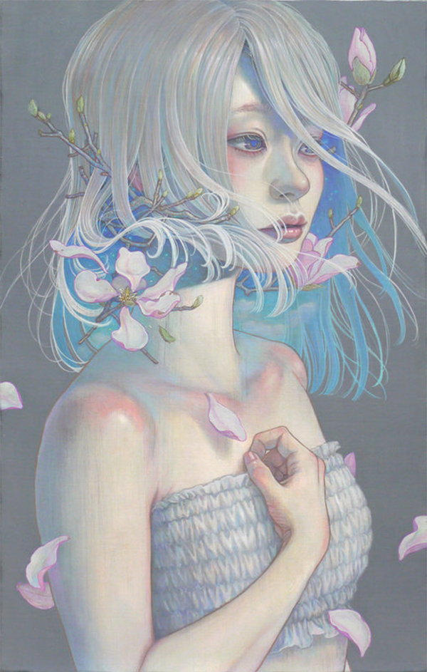 Miho Hirano painting of a grey-haired girl with hair flipping up as flowers bloom out.