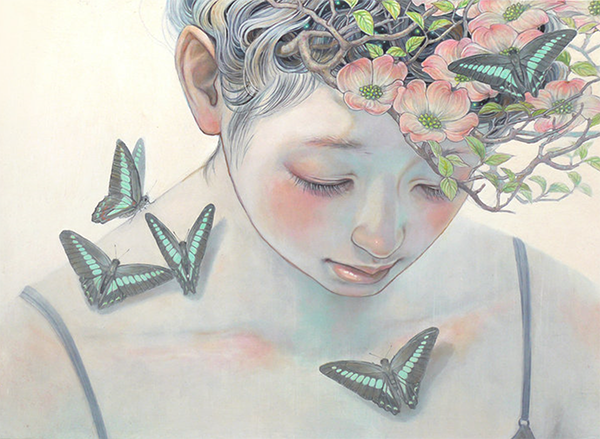 Miho Hirano painting of a girl looking downward, her hair full of primrose, and her shoulder and chest dotted with green butterflies.