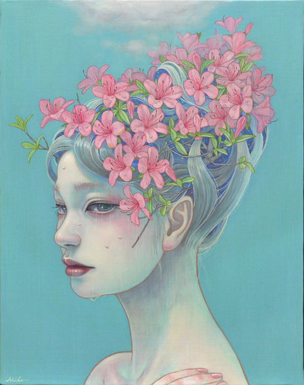GIrl in profile with pink blossoms for hair, standing under a soft cloud and taking it rain into her hair. Her face has runnels of water.