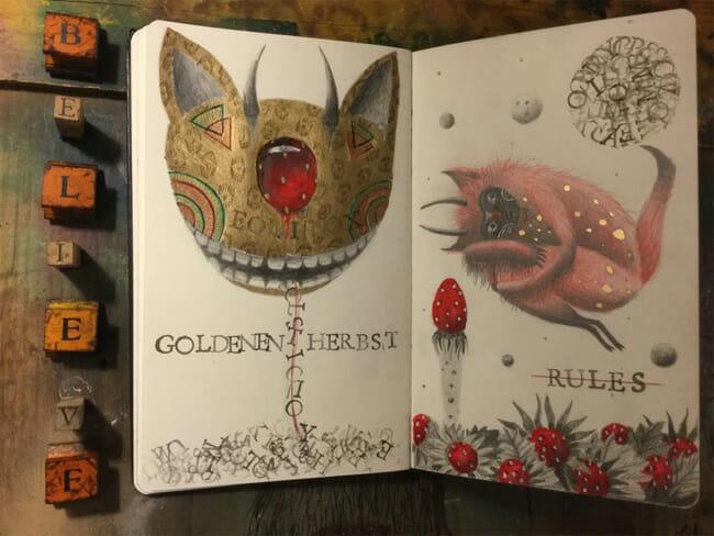 Peca pop surrealism animal creature painting
