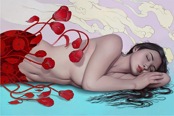 Sarah Joncas surreal nude woman sleeping painting - How do you set a price for your artwork?