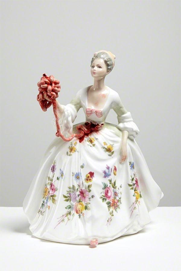 Jessica Harrison porcelain sculpture, modified, gore, internals exposed
