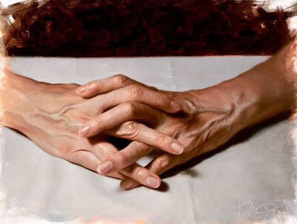Robin Eley clasped hands art