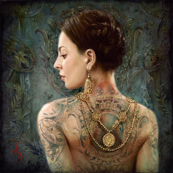 Alexandra Manukyan - Blazon realistic painting of woman with jewellery and tattoo