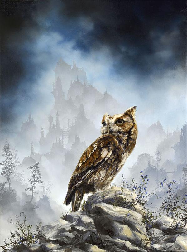 "Brian Mashburn, ""Red Morph Eastern Screech"", owl painting"