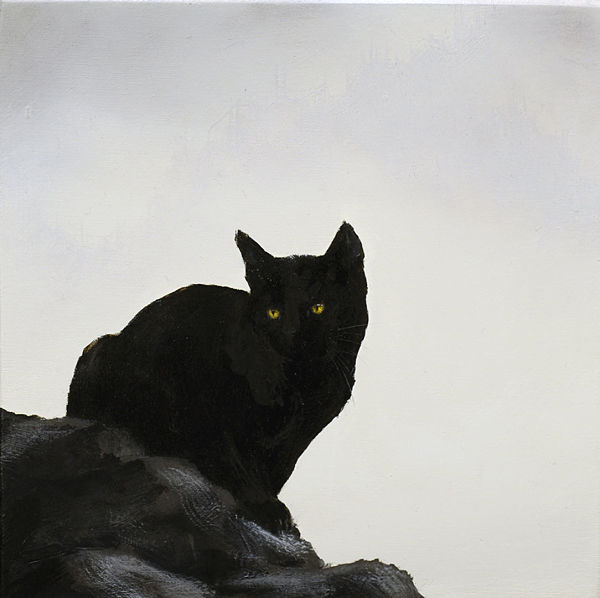 "Brian Mashburn, ""Fred Study"", black cat oil painting"