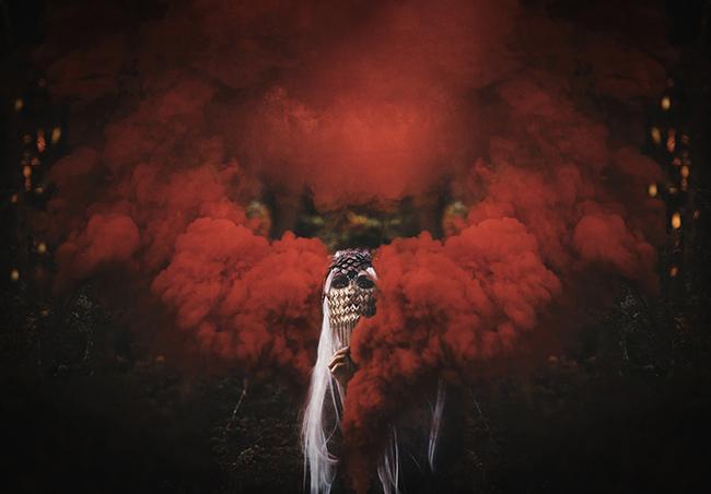 Dawndra Budd red smoke dark photography
