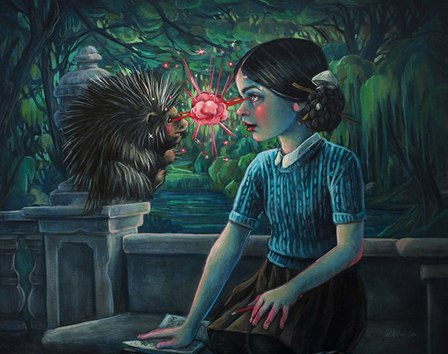 Lori Nelson pop surreal painting girl gazing into a hedgehogs eyes- What Are the 3 Main Do's and Don'ts for Galleries When Working with Artists?