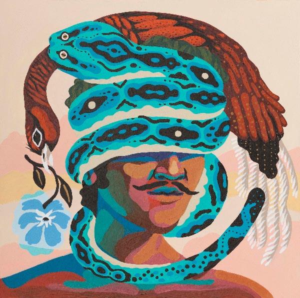 Marcos Navarro blue snake painting