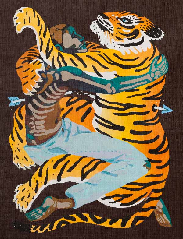 Marcos Navarro man and tiger entwined painting