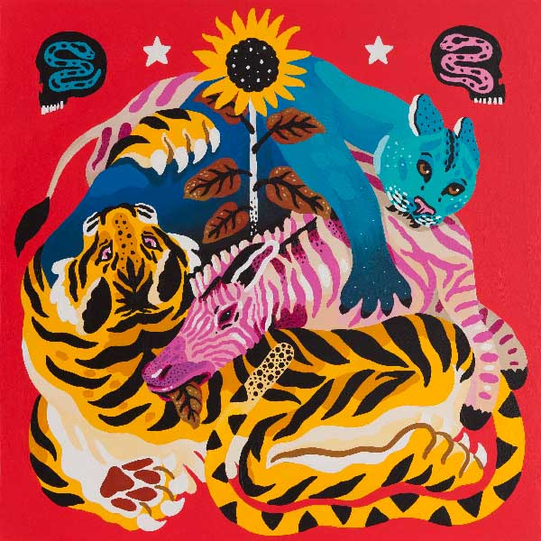 Marcos Navarro red pop surreal tiger painting