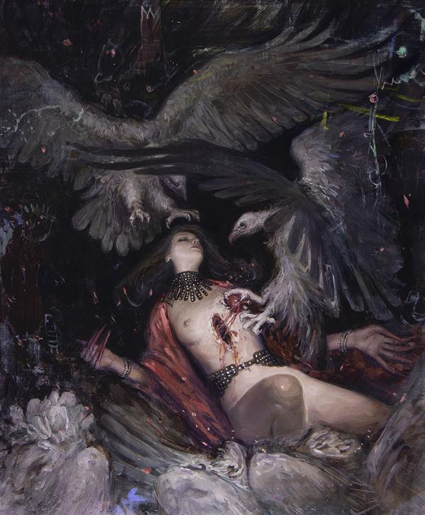 """Nadezda, """"The Descent"""", dark art nude painting"""