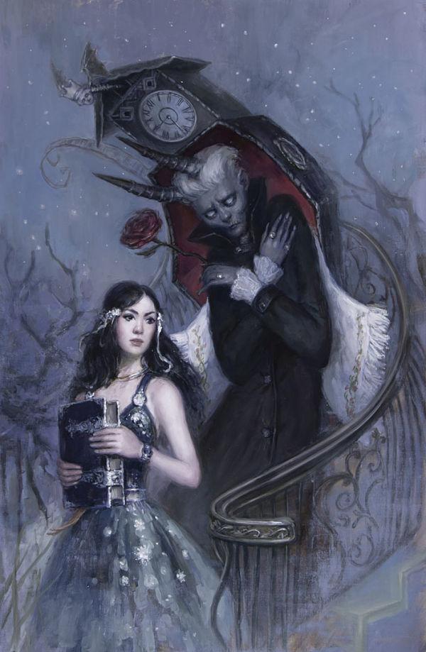 "Nadezda, ""Rendezvous"", dark art oil painting"