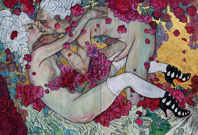 Rebecca Leveille - two lovers embracing nude art painting - What Is the Difference Between Selling Your Work Through a Gallery Rather Than Privately?