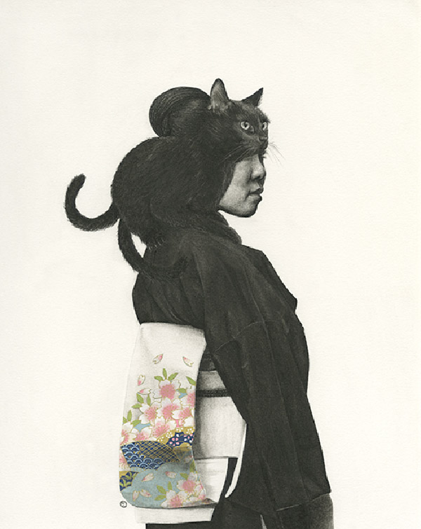Stephanie Inagaki two tailed cat kimono drawing