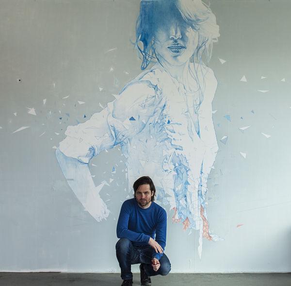 Daan Noppen with his artwork