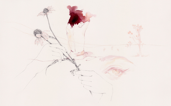 Emma Leonard surrea desert landscape and women painting