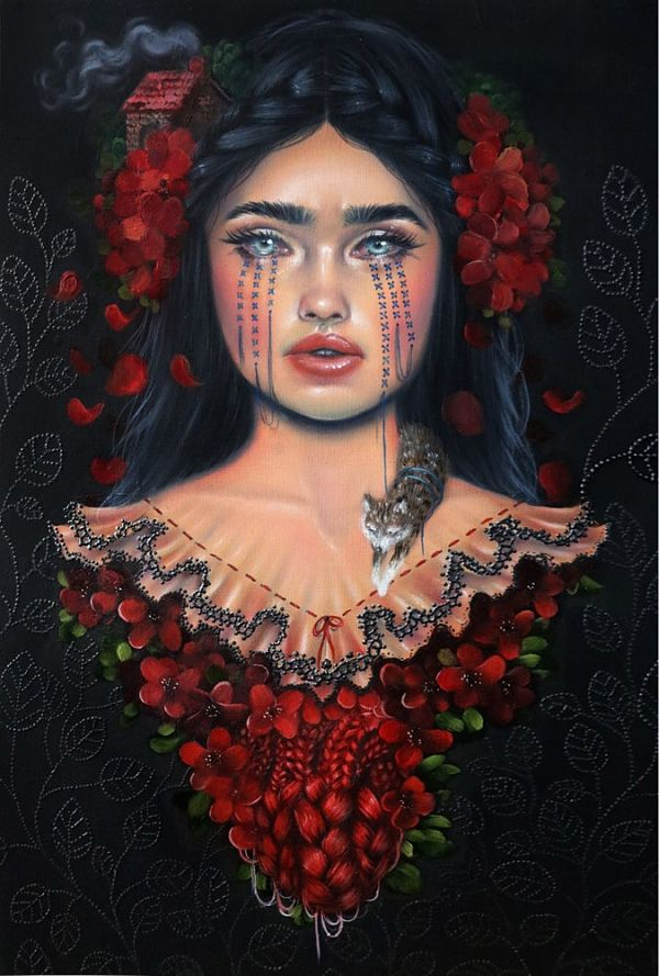 Relm crying red torso painting