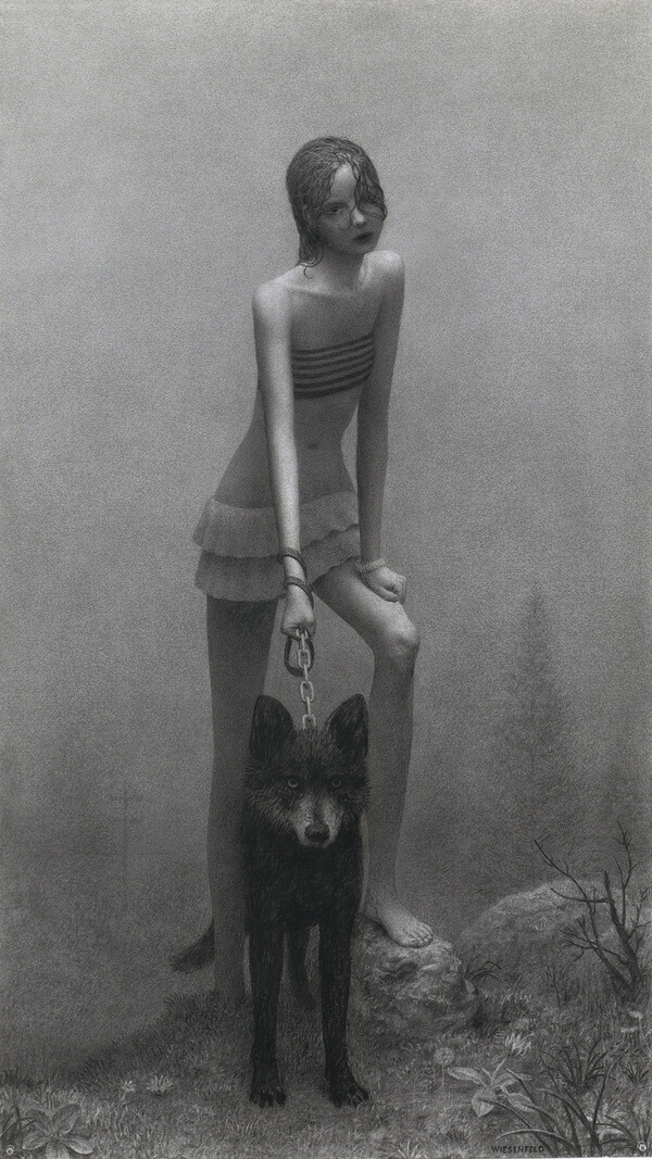 Aron Wiesenfeld girl and dog graphite drawing