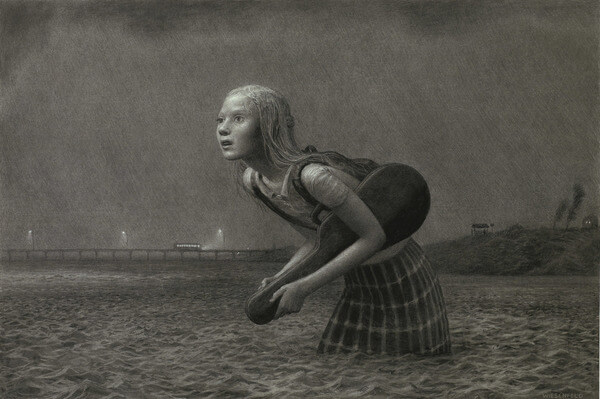 Aron Wiesenfeld girl in water graphite drawing