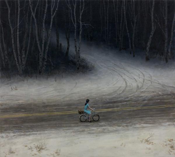 Aron Wiesenfeld girl riding bike past dark road painting