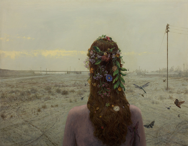 Aron Wiesenfeld girl with flowers in her hair painting