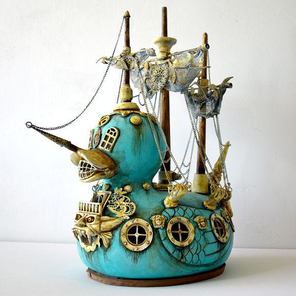 costa magarakis duck pirate ship familiars sculpture