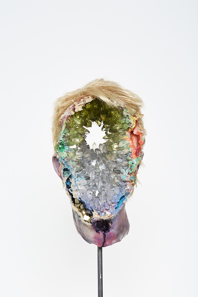 David Altmejd surreal crystal head sculpture