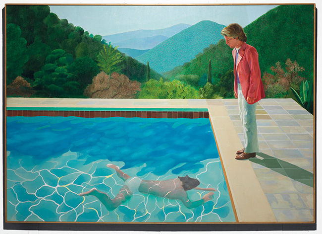 David Hockney surreal artwork man by swimming pool painting