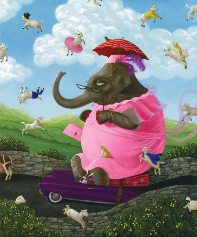 Gina Matarazzo elephant lambs insomnia painting
