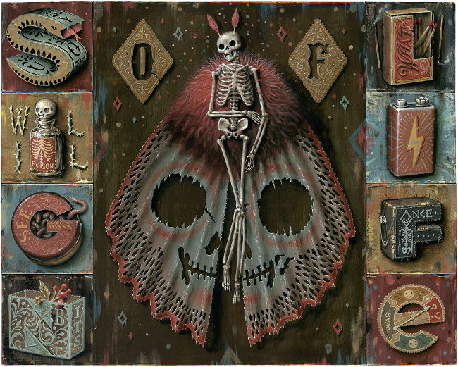 Jason Limon skeleton butterfly life death painting
