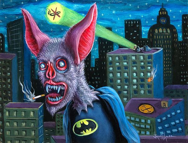 Jeremy Crosspop surreal bat batman familiars painting