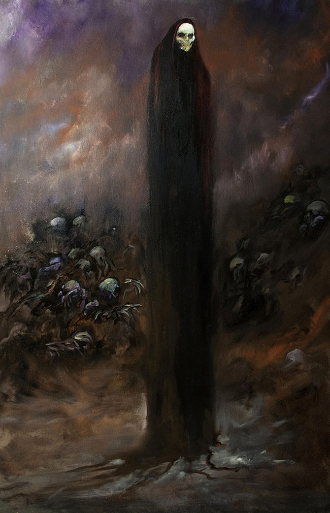Jody Fallon dark art skeleton painting