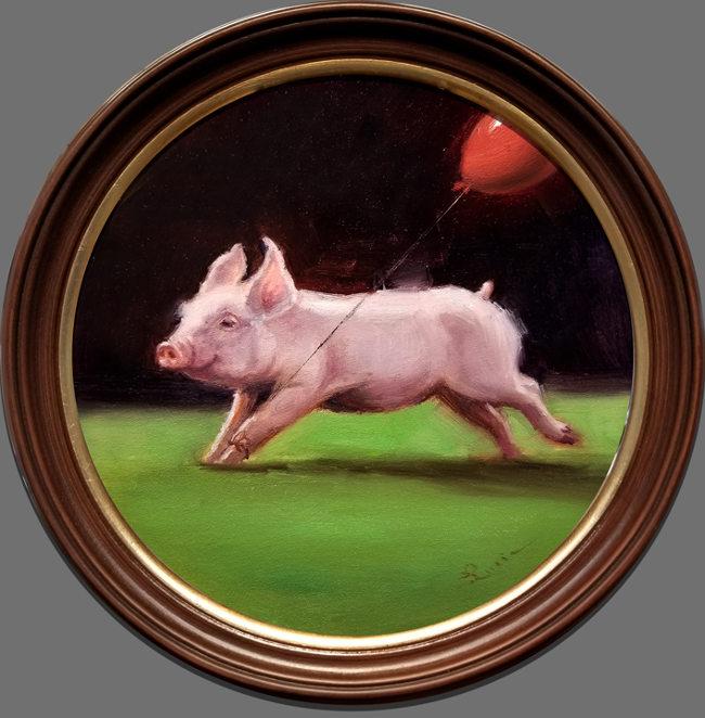 Lucia Heffernan pig running red balloon