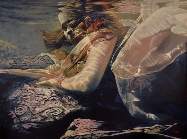 Mark Heine - Cipher underwater female siren painting
