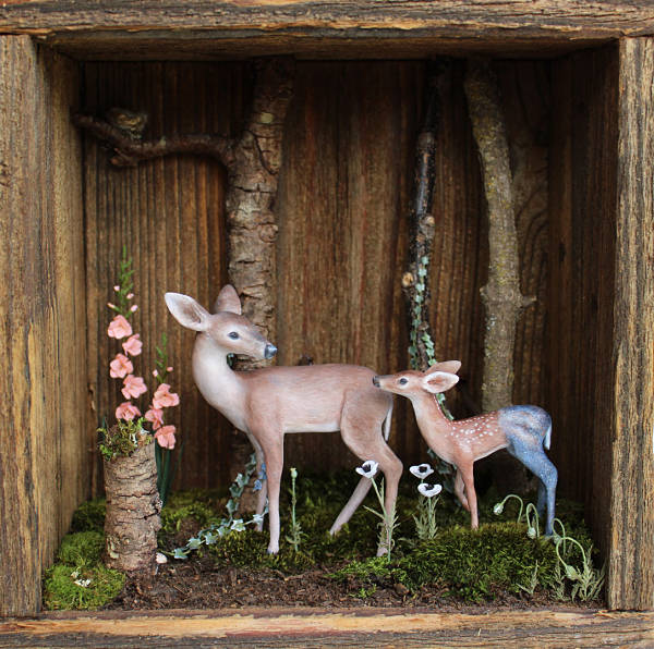 "Meadow & Fawn ""From the Stars"" wooden shadowbox: hand sculpted polymer clay sculptures"