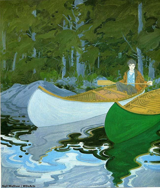 Neil Welliver surreal abstract man in boat paintings