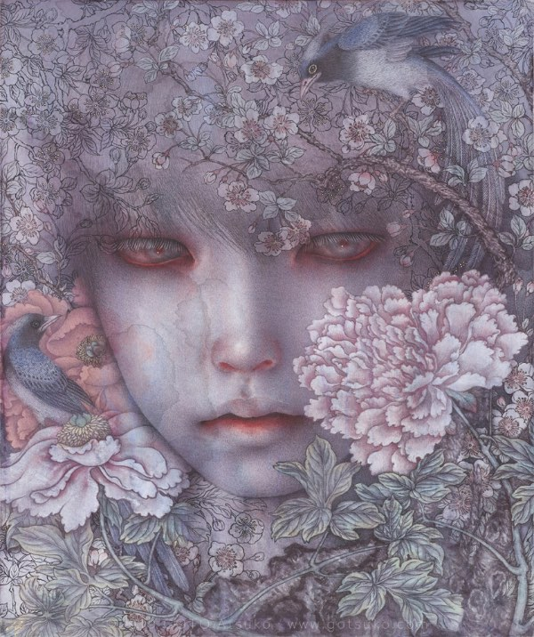 Atsuko Goto boy with birds and flowers painting
