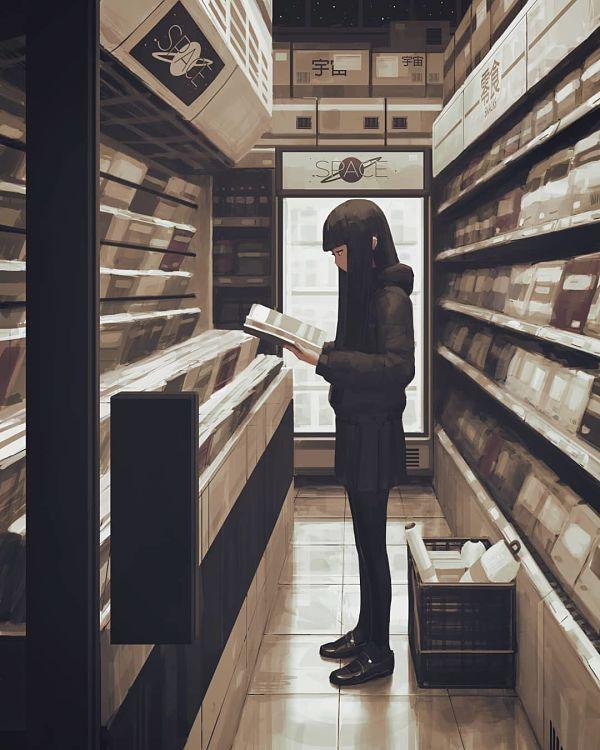 Guweiz bookstore girl digital painting