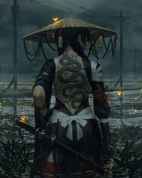 Guweiz female ronin digital painting