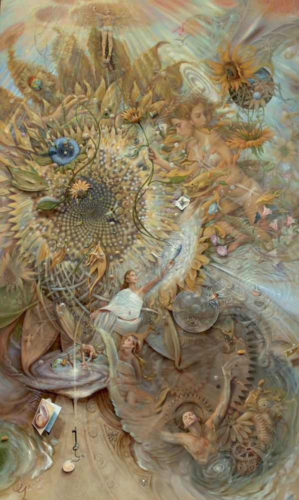 """Mark Garro surreal heaven painting """"The Somewhat Mechanical Organical Heaven Dynamical"""""""