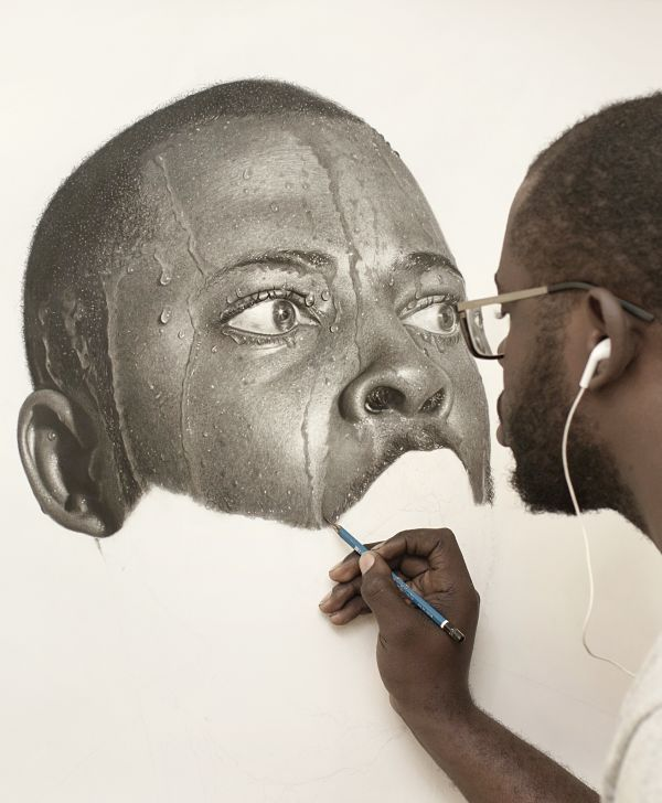 Arinze Stanley hyper-realistic work in progress drawing