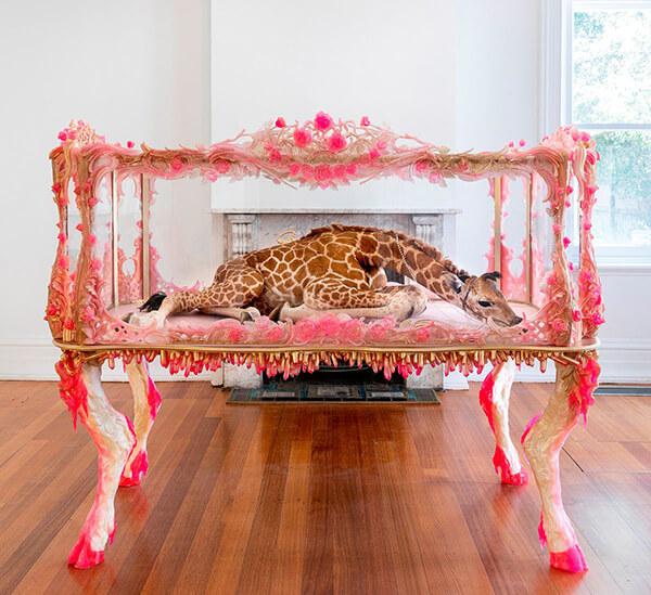 Julia deVille Mother is my Monarch giraffe taxidermy
