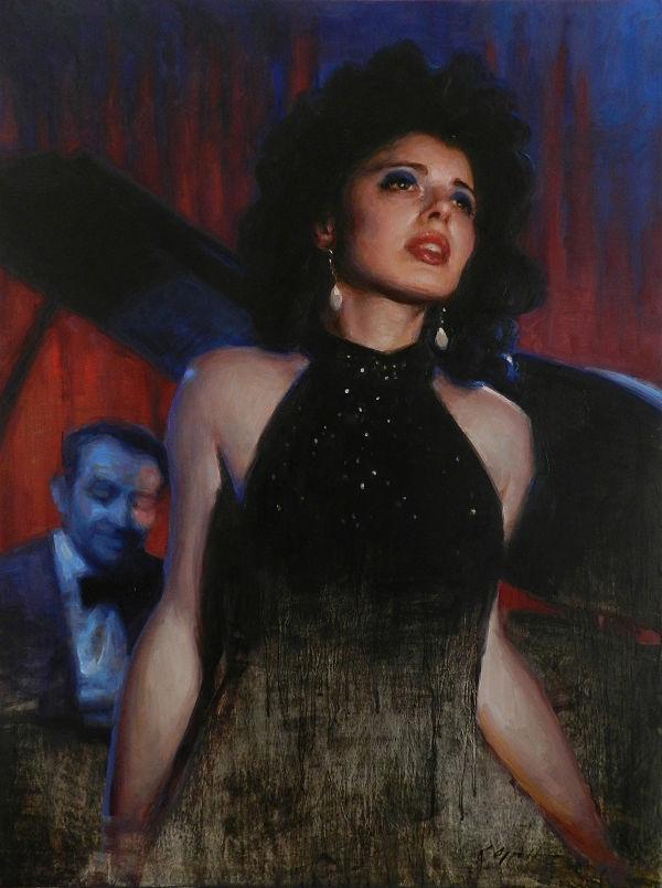 Karen Offutt Blue Velvet portrait painting