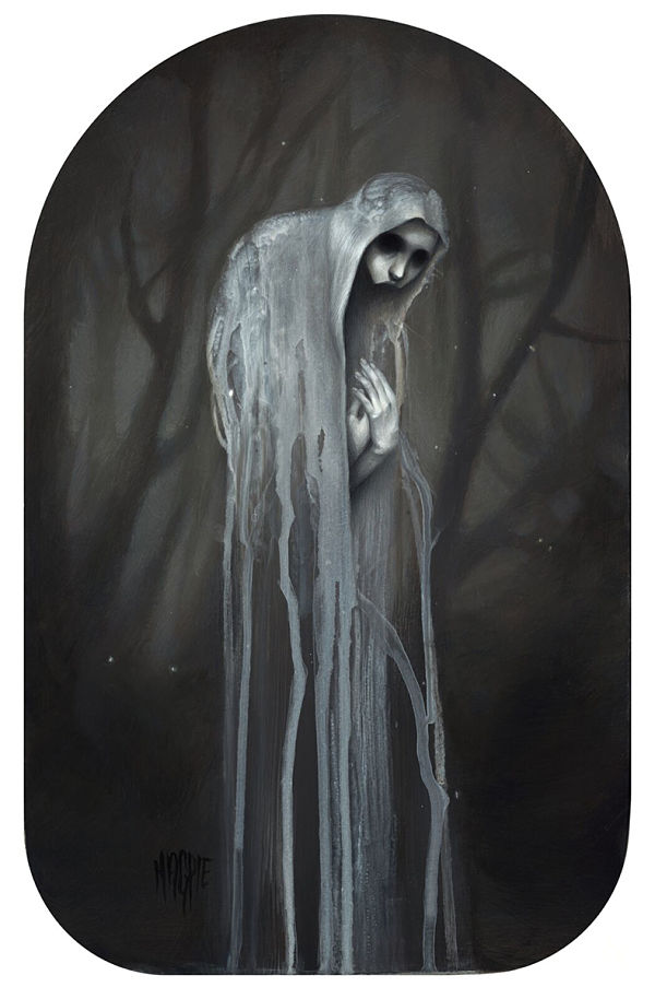 Meagan Magpie Rodgers Linger dark art ghostly creature painting
