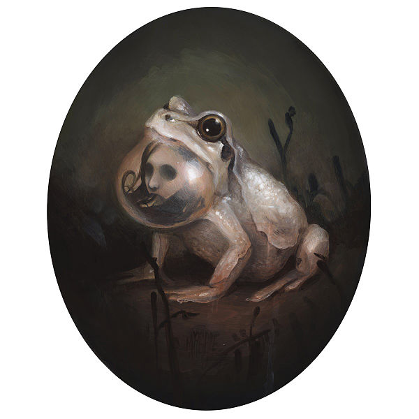 Meagan Magpie Rodgers Nemophilist frog dark art painting