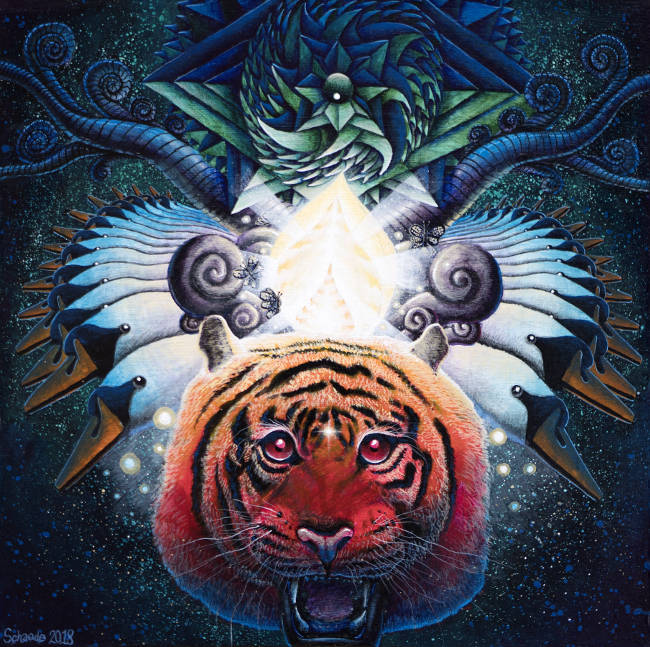Rocky Schaede psychedelic tiger painting
